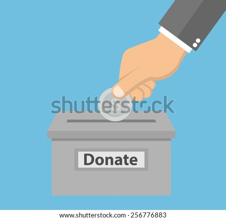 Hand putting silver coin in the donation box - donation concept in flat style - stock vector