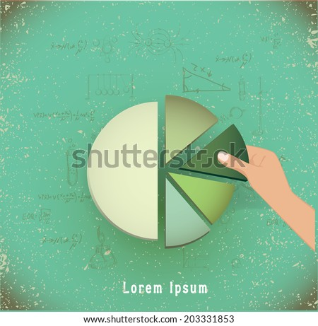 hand putting the last piece of a pie chart on place (partnership, teamwork, investment and other financial concepts) vector illustration - stock vector