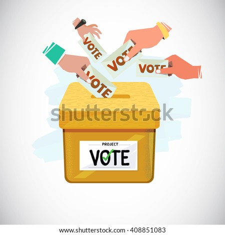 Hand Putting Vote Into Box. Voting and democracy concept - vector illustration - stock vector