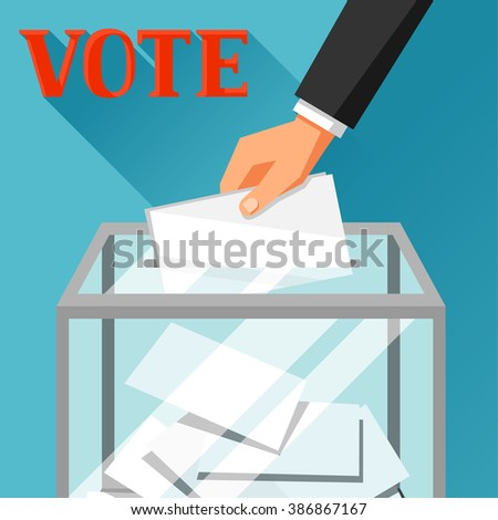 Hand putting voting paper in ballot box. Political elections illustration for web sites, banners and flayers. - stock vector
