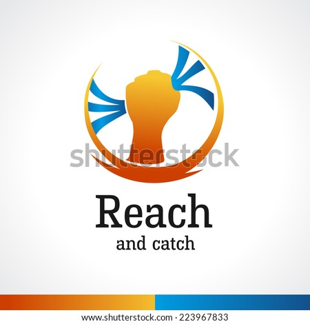 Hand reaching for the stripes logo template - stock vector