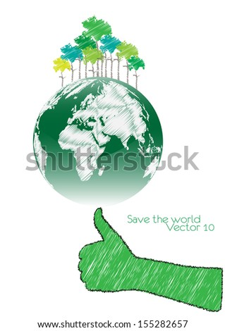 Hand Save The Earth Conceptual. vector illustration - stock vector