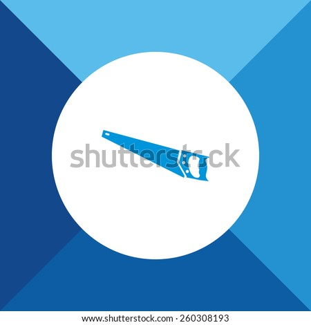 Hand Saw Icon on Blue Colored Background. Eps-10. - stock vector