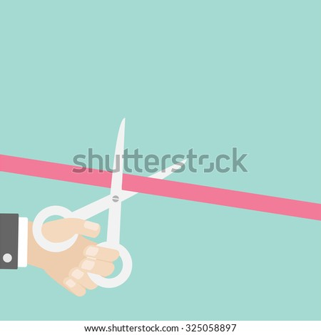 Hand scissors cut the straight ribbon left. Opening ceremony. Inauguration Flat design style.  Vector illustration - stock vector