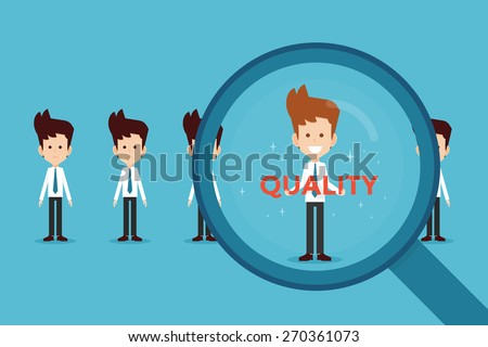hand searching Quality  - stock vector