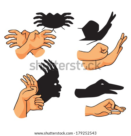 hand shadows theater, set, vector illustration on white background - stock vector