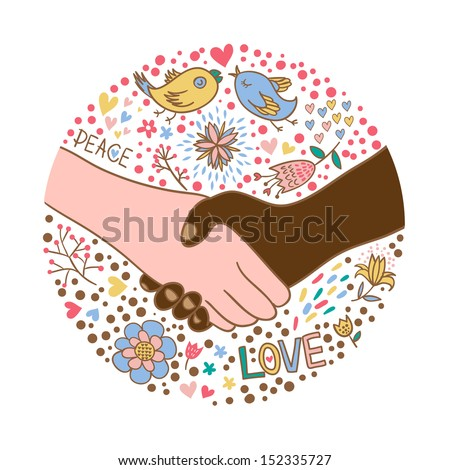 Hand shake between black and white man. Stop Racism - stock vector