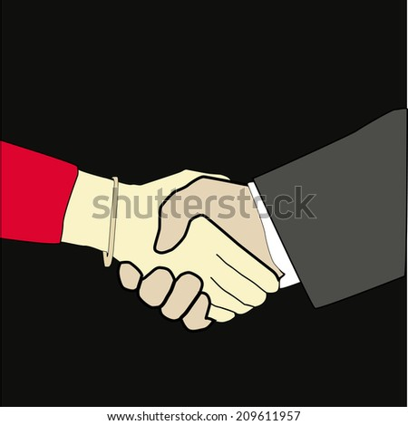 Hand shake between woman and man - stock vector
