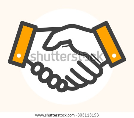 Hand shake, deal icon. Black outline drawing with orange color details. - stock vector