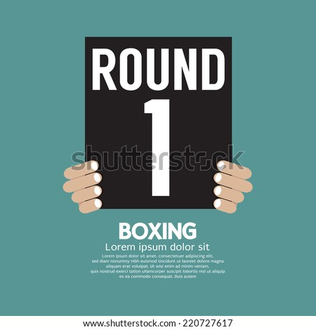 Hand Show Boxing Ring Board Vector Illustration - stock vector