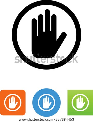 Hand showing a signal for stop. Vector icons for video, mobile apps, Web sites and print projects.  - stock vector