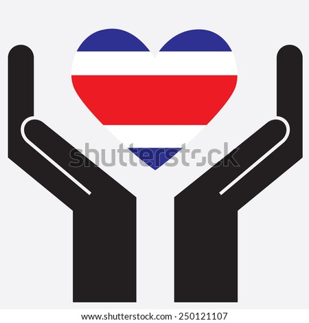 Hand showing Costa Rica flag in a heart shape. Vector illustration.  - stock vector