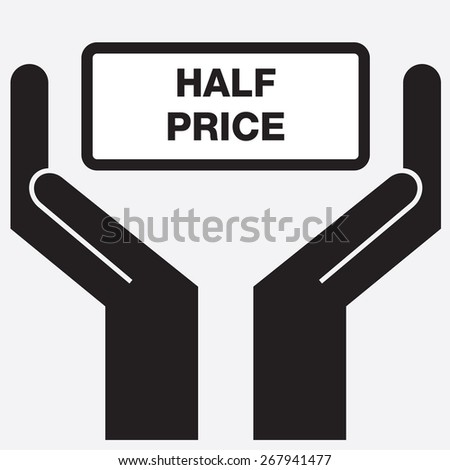 Hand showing half price sign icon. Vector illustration. - stock vector