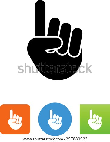Hand showing number one symbol for download. Vector icons for video, mobile apps, Web sites and print projects. - stock vector