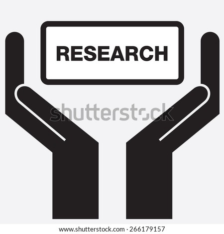 Hand showing research sign icon. Vector illustration. - stock vector