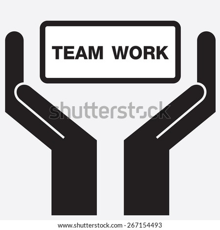 Hand showing team work sign icon. Vector illustration. - stock vector