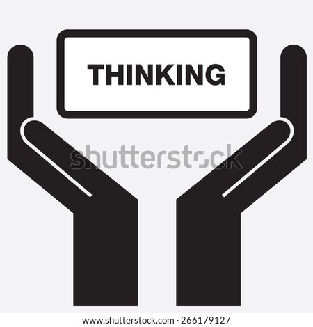 Hand showing thinking sign icon. Vector illustration. - stock vector