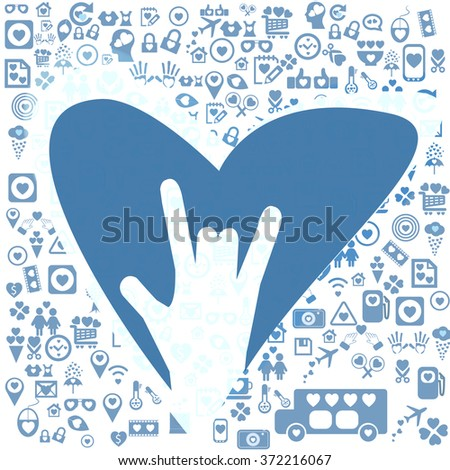 Hand sign as heart shape for valentine day - stock vector