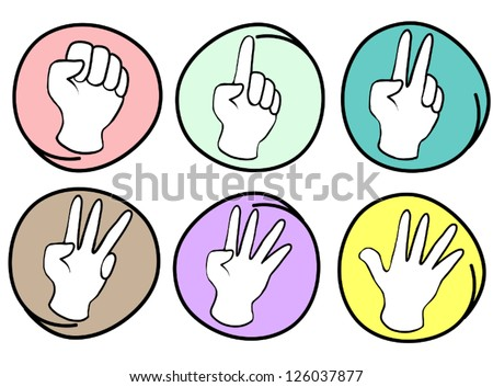 Hand Sign, Cartoon Illustration of A Collection of Hands Counting Zero to Five in Circle Frame - stock vector