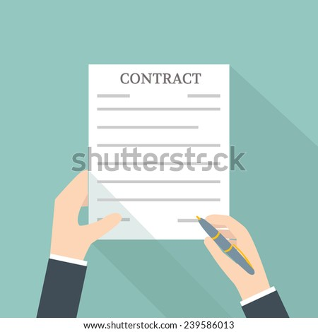 Hand Signing Contract - stock vector