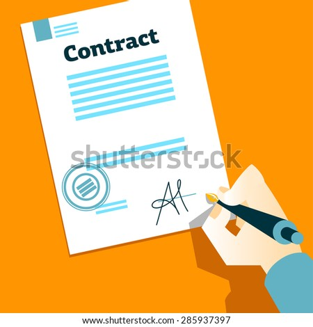 Hand signs contract. Vector illustration - stock vector