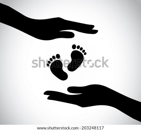 hand silhouette protecting small young newborn baby feet legs. human hand nursing and taking care of small baby feet - concept illustration simple art - stock vector