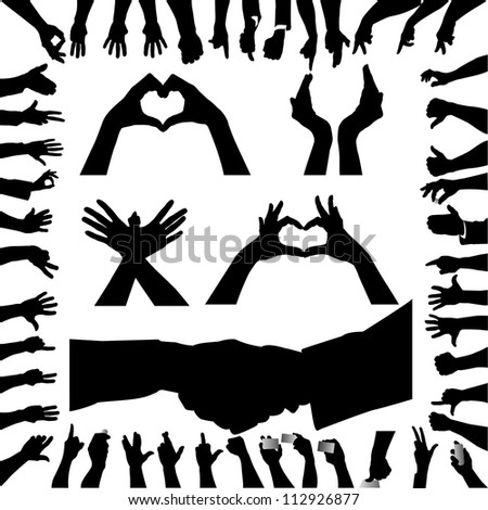 Hand silhouettes - stock vector