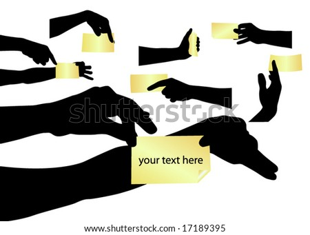 Hand silhouettes with stickers - stock vector