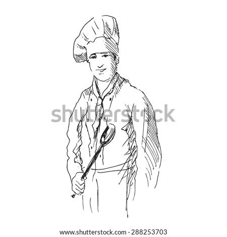 hand sketch chef - stock vector