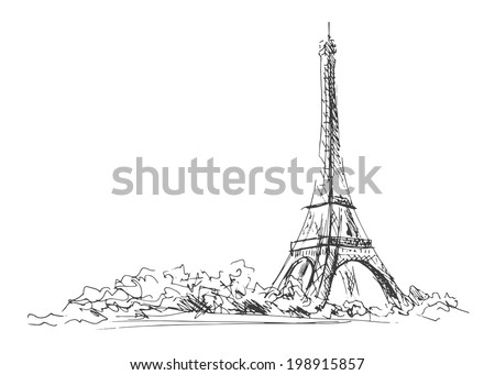 Hand sketch of the Eiffel Tower.  Vector illustration - stock vector