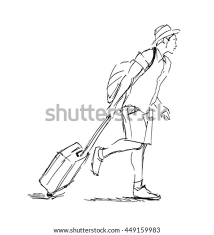 Hand sketch tourist with suitcase. Vector illustration - stock vector