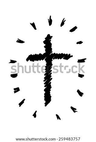 Hand sketched Cross with Light Rays Isolated on White. Editable Vector EPS10 Illustration. - stock vector