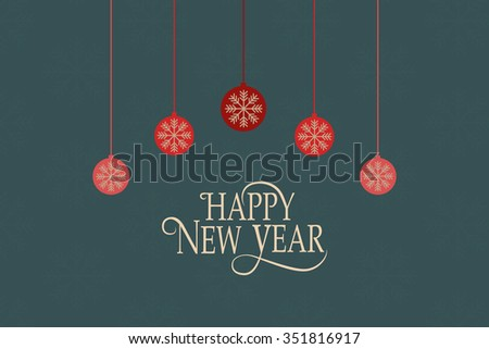 Hand sketched Happy New 2016 Year logotype, badge and icon typography with christmas tree balls. Lettering of Happy New 2016 Year for New Year greeting card template. Happy New Year banner, flyer - stock vector