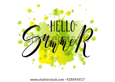Hand sketched Hello Summer text as logotype, badge and icon. Hello Summer postcard, card, invitation, flyer, banner template. Summer lettering typography. Season's Greetings - stock vector
