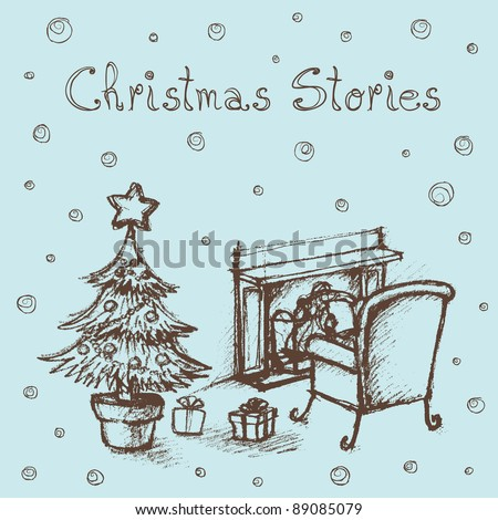 Hand sketched illustration of kid reading stories by the fireplace. - stock vector