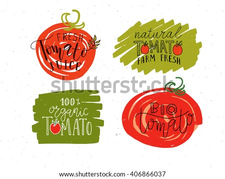Hand sketched Tomato lettering typography set. Concept for farmers market, organic food, natural product design, juice, sauce, ketchup, etc. Tomato logotype, badge/icon. Tomato logo, banner, flyer  - stock vector