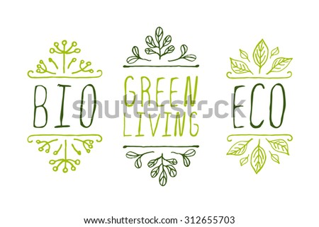 Hand-sketched typographic elements. Eco product labels. Suitable for ads, signboards, packaging and identity and web designs. - stock vector