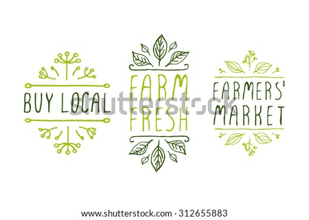 Hand-sketched typographic elements. Farm product labels. Suitable for ads, signboards, packaging and identity and web designs. Buy local. Farm fresh. Farmers market. - stock vector