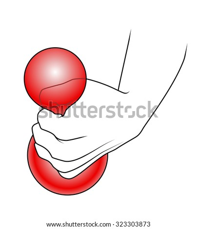 Hand squeezing a balloon or rubber ball. - stock vector