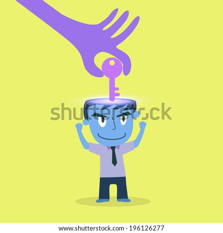Hand stealing idea key from businessman  - stock vector