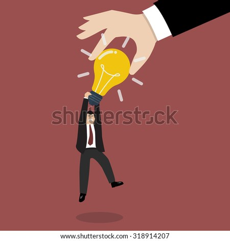 Hand stealing idea light bulb from businessman. Idea concept - stock vector