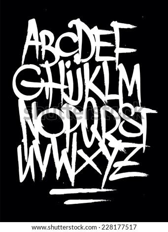 Hand style graffiti font alphabet. Vector - stock vector