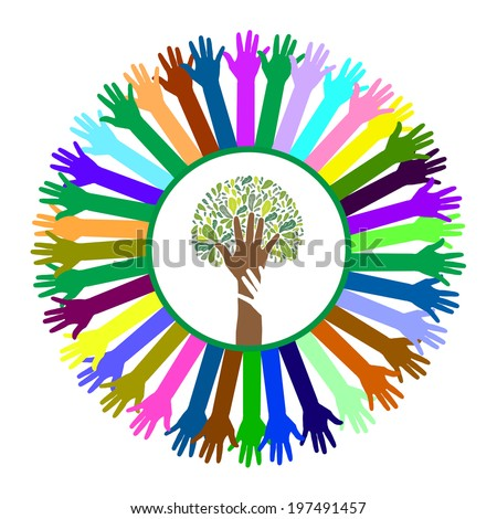 Hand style save the Earth tree idea - stock vector