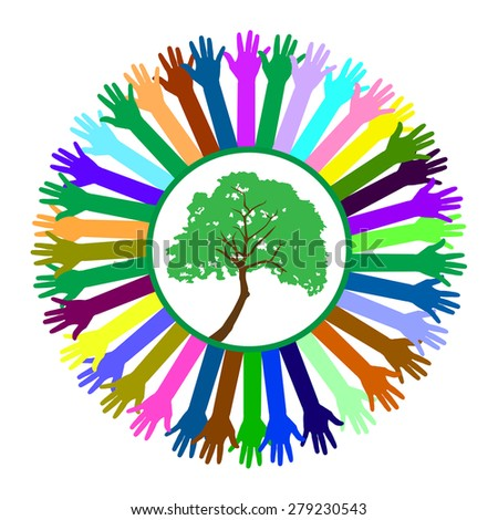 Hand style save the Earth tree idea - stock vector