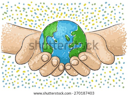 hand supports the world - stock vector