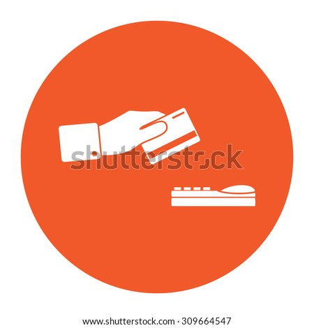 Hand swiping a credit card. Flat white symbol in the orange circle. Vector illustration icon - stock vector