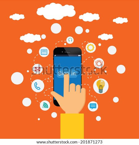 hand taking sing in to the on line surrounded by icons. Concept of communication in the network - stock vector