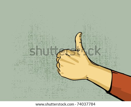 hand, thumbs up gesture illustration - stock vector