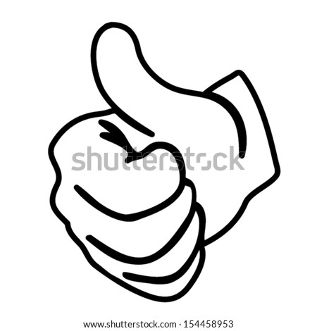 hand thumbs up vector outline - stock vector