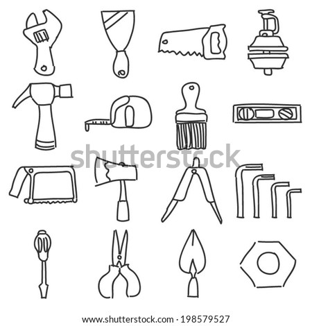 Hand Tools Equipment Icon Line Drawing - stock vector